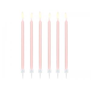 Świeczki urodzinowe gładkie, jasny różowy, 14cm