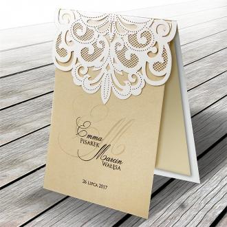 Zaproszenia Ślubne Ażurowe Wycięte Laserowo F1324tb