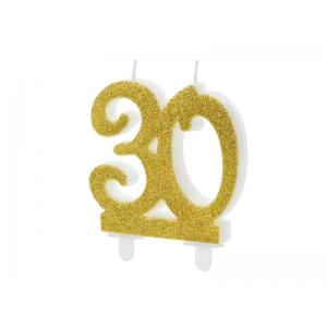Świeczka urodzinowa liczba 30, złoty 7.5cm
