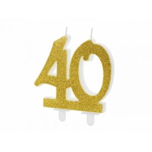 Świeczka urodzinowa liczba 40, złoty 7.5cm