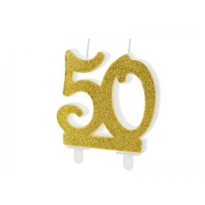 Świeczka urodzinowa liczba 50, złoty 7.5cm