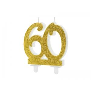 Świeczka urodzinowa liczba 60, złoty 7.5cm