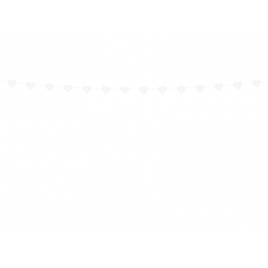 Girlanda Serca, biały, 1,8m