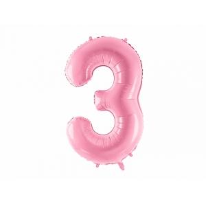 """Balon foliowy Cyfra """"3"""", 86cm, różowy"""