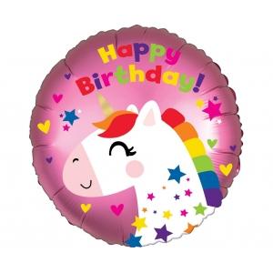Balon foliowy 18 cali CIR - Urodzinowy jednorożec