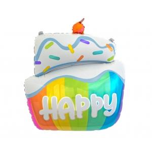 Balon foliowy Tort HAPPY, 60 cm