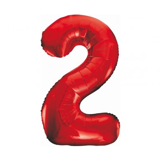 Balon foliowy B&C Cyfra 2, czerwona, 85 cm