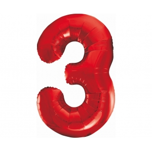 Balon foliowy B&C Cyfra 3, czerwona, 85 cm