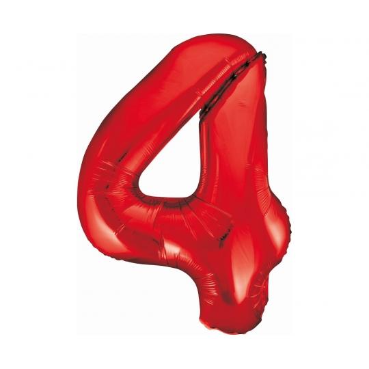 Balon foliowy B&C Cyfra 4, czerwona, 85 cm