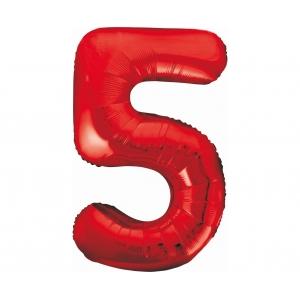 Balon foliowy B&C Cyfra 5, czerwona, 85 cm