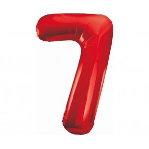 Balon foliowy B&C Cyfra 7, czerwona, 85 cm