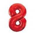 Balon foliowy B&C Cyfra 8, czerwona, 85 cm