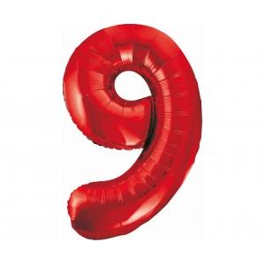 Balon foliowy B&C Cyfra 9, czerwona, 85 cm
