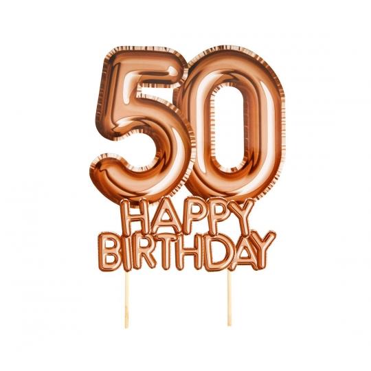 """Piker """"Glitz & Glamour"""",złoto-różowy napis 50 HAPPY BIRTHDAY"""
