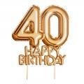"""Piker """"Glitz & Glamour"""",złoto-różowy napis 40 HAPPY BIRTHDAY"""