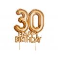 """Piker """"Glitz & Glamour"""",złoto-różowy napis 30 HAPPY BIRTHDAY"""