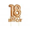 """Piker """"Glitz & Glamour"""",złoto-różowy napis 18 HAPPY BIRTHDAY"""