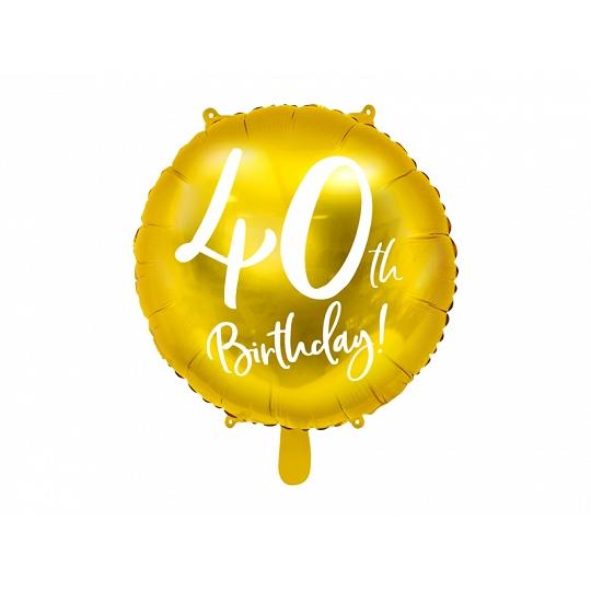 Balon foliowy 40th Birthday, złoty, 45cm