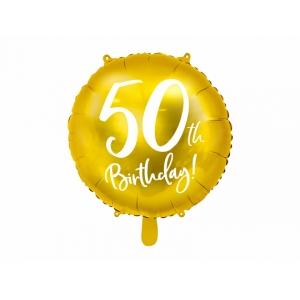 Balon foliowy 50th Birthday, złoty, 45cm