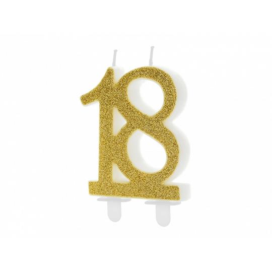 Świeczka urodzinowa liczba 18, złoty, 7.5cm