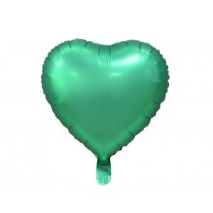 "Balon foliowy ""Serce"", matowe, zielone, 18"""