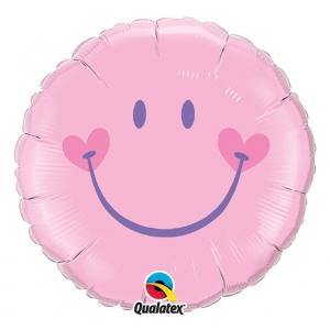 Balon foliowy 18 cali QL CIR UŚMIECH, różowy