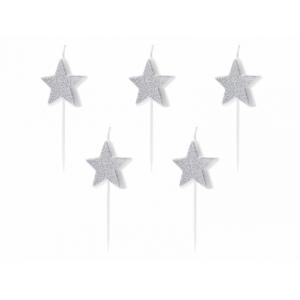Świeczki urodzinowe Gwiazdki, srebrny, 3,5cm