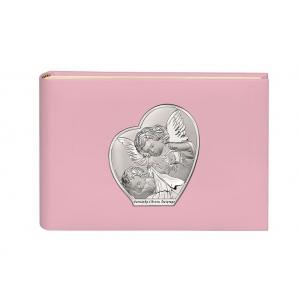 Różowy album na zdjęcia z srebrnym obrazkiem na Chrzest Święty 15x20 cm