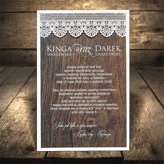 Drewniane Zaproszenia Ślubne F1312