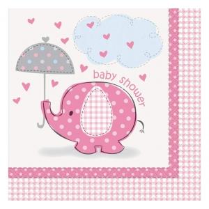 """Serwetki papierowe """"Baby Shower-Słonik"""", różowe, 16 szt."""