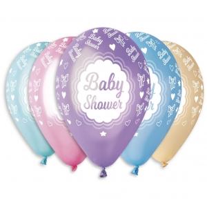 """Balony Premium """"Baby shower"""", metaliczne, 12"""" / 5 szt."""