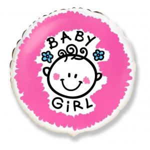 """Balon foliowy 18"""" FX - """"Baby girl"""" (okrągły) KK"""