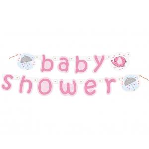 "Banner ""Baby Shower - Słonik"", różowy"