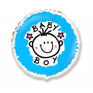 """Balon foliowy 18"""" FX - """"Baby boy"""" (okrągły) KK"""