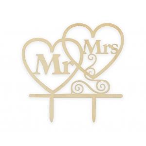 Topper Dekoracja na tort W&C Mr&Mrs, drewniana