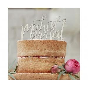 Topper Dekoracja na tort topper Boho - Just Married , drewniany, 12x14 cm