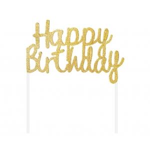 Topper Dekoracja papierowa B&C Happy Birthday, złota, 11x14 cm