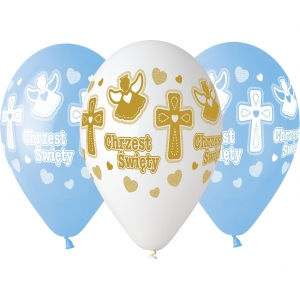 Balony Premium Hel Chrzest chłopca, 13 cali / 5 szt.