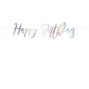 Baner Happy Birthday, opalizujący, 16,5x62cm