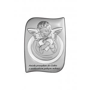 Obrazek Srebrny Aniołek z Sercem 7,5x10 cm