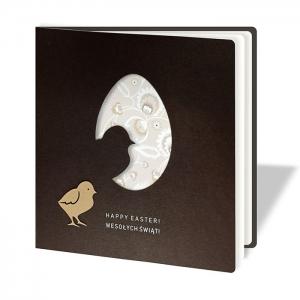 Kartka Wielkanocna z kurczaczkiem i pisanką