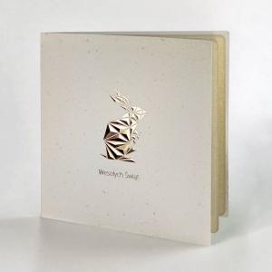 Kartka Wielkanocna z geometrycznym pozłacanym zajączkiem