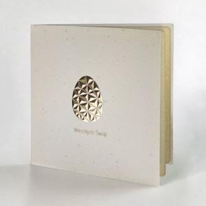Kartka Wielkanocna z geometryczną pozłacaną pisanką