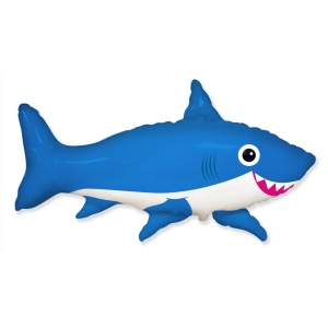 Balon foliowy 24 cale FX - Uśmiechnięty rekin, niebieski