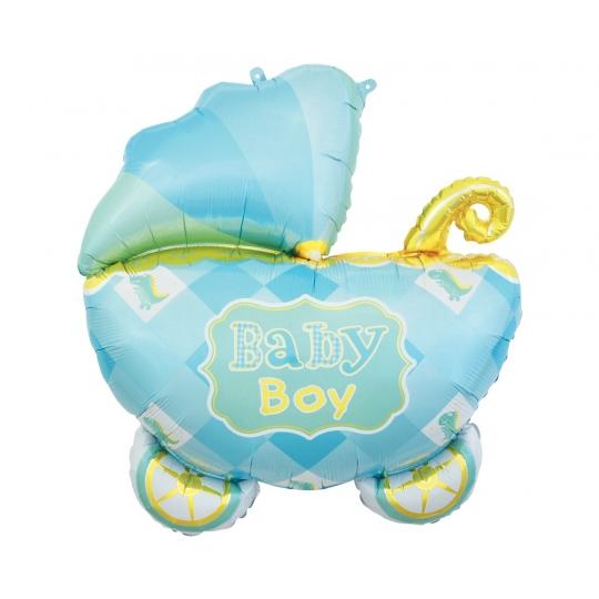 Balon foliowy WÓZEK, baby boy - 60 cm