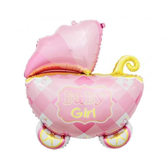 Balon foliowy WÓZEK, baby girl - 60 cm
