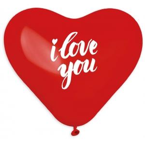 Balony I Love You, serca czerwone 45/ 50 szt