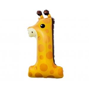 Balon foliowy Żyrafa - cyfra 1, 80 cm