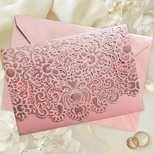 Zaproszenie z Piękną Ozdobną Okładką w Kolorze Pudrowy Róż CW073B