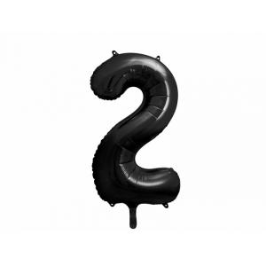 """Balon foliowy Cyfra """"2"""", 86cm, czarny"""